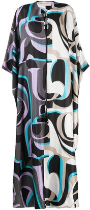Emilio Pucci Abstract-Print Long Silk Dress