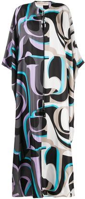 Emilio Pucci x Koche abstract-print long silk dress