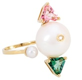 Delfina Delettrez Complex Gemetries 18kt Gold Ring With Topaz, Diamond And Pearls