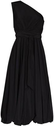 Tibi One Shoulder Taffeta Belted Waist Midi Dress