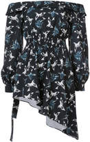 Christian Siriano printed off-the-shoulder blouse