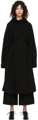 Yohji Yamamoto Regulation Black Wool Hooded Coat