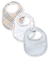 Burberry Cotton Bib Set, Ice Blue