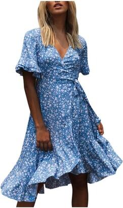 Moent Women Clothes Moent Women Casual V Neck Short Sleeve Floral Print Boho Ruffle Beach Dress