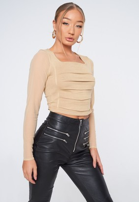 Missguided Stone Knit Ruched Front Top
