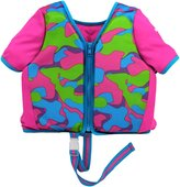 Aqua Leisure Sleeved Swim Training vest, SM, with zipper & safety strap, pink print Baby