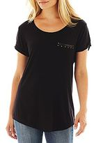 JCPenney a.n.a® Studded Pocket Tee