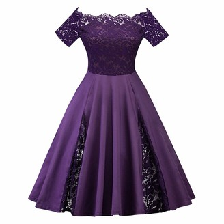 IWEMEK Elegant Women Off Shoulder Rockabilly Dress Plus Size Lace Floral 1950s Retro A-line Skater Ball Gown Short Sleeve Pleated Swing Pinup Cocktail Evening Prom Dress Purple 5XL