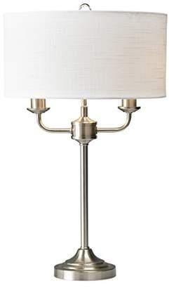 Village At Home Grantham Table Lamp Satin Nickel, Metal, E14, Satin Nickel/White