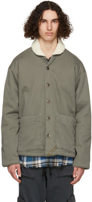 Greg Lauren Khaki Sherpa Shawl Collar Boxy Jacket