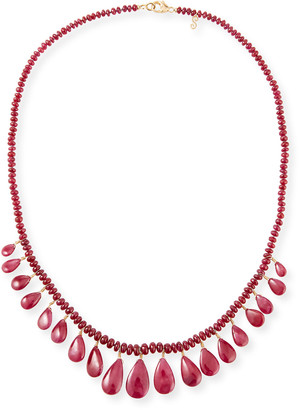 Splendid 18k Ruby Drops Necklace