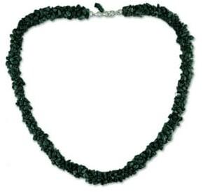 Novica Handmade Sterling Silver Cool Moss Malachite Necklace