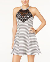 Material Girl Juniors' Striped Lace Halter Fit & Flare Dress, Only at Macy's