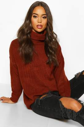 boohoo Roll Neck Drop Shoulder Longline Jumper
