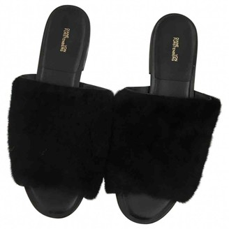 Diane von Furstenberg Black Faux fur Sandals