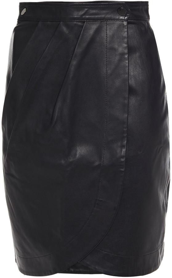 Thumbnail for your product : BA&SH Leana Leather Mini Wrap Skirt