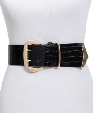 INC International Concepts Inc Wide Stretch Croc-Embossed Belt, Created for Macy's