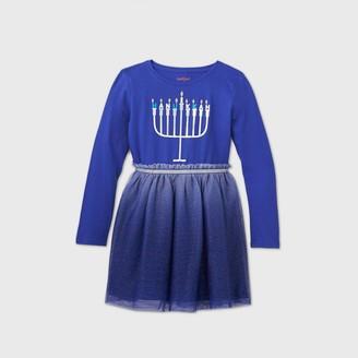 Cat & Jack Girls' Long Sleeve Hanukkah Menorah Tulle Dress - Cat & JackTM