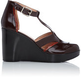 Robert Clergerie WOMEN'S COSMOS T-STRAP PLATFORM WEDGE SANDALS-DARK BROWN SIZE 9