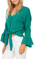 Miss Love Green Front Tie Blouse