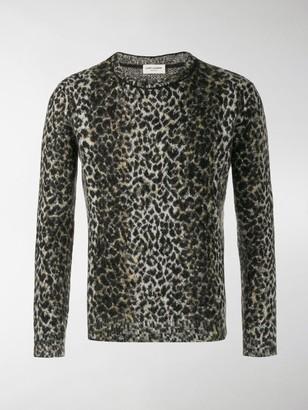 Saint Laurent Intarsia Leopard Knitted Jumper