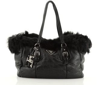 Prada Buckle Tote Leather and Fur Medium