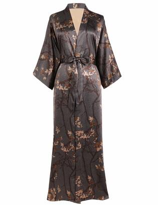 PRODESIGN Charmeuse Satin Kimono Dressing Gown Leaves Pattern Printed Kimono Robe for Women Silk Feeling Kimono Cover Up for Wedding Girl's Bonding Party Pyjamas (Yellow)