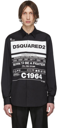 DSQUARED2 Black Stretch Poplin Shirt