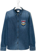 Armani Junior Teen logo embroidered denim shirt