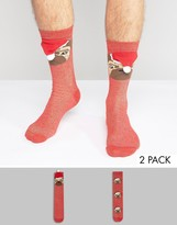 Asos Christmas Socks With 3d Santa Pug Glitter Design 2 Pack