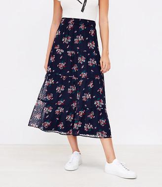 LOFT Floral Tiered Midi Skirt