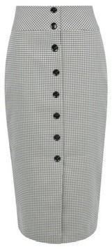 Dorothy Perkins Womens Multi Colour Check Print High Waist Button Pencil Skirt, Multi Colour