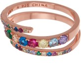Lesa Michele Rose Gold Plated Sterling Silver Multi CZ Bypass Ring - Size 6