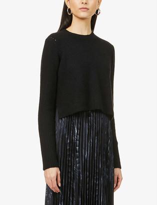 AllSaints Leowa Viola pleated wool-blend and crepe midi dress