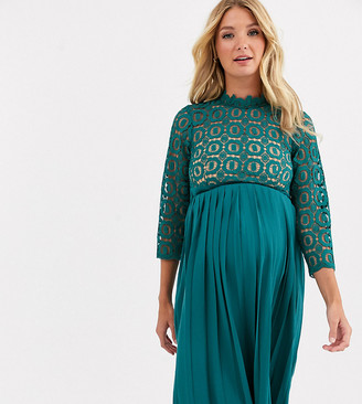 Little Mistress Maternity midi length 3/4 sleeve lace dress in kingfisher