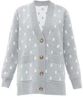 Burberry Palena Tb-jacquard Cardigan - Womens - Grey Multi