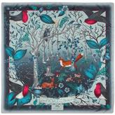 "Aspinal of London The Dockery Robin Silk Scarf (Midnight Blue - 55"" x 55"")"