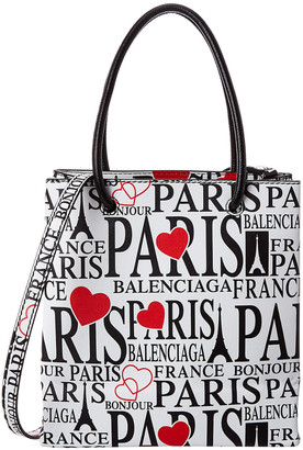 Balenciaga Bonjour Paris Xxs Leather Shopping Tote