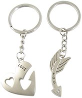 uxcell Pair Metal Heart Arrow Pendant Couple Gift Keychain Keyring