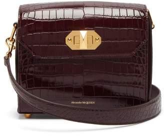 Alexander McQueen Box 21 Crocodile Effect Leather Cross Body Bag - Womens - Burgundy
