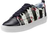 Lanvin Floral-Print Leather Low-Top Sneaker, Black/White