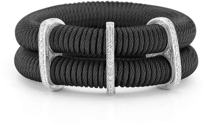 Alor Noir Double-Row Spring Coil Cable & Diamond Bracelet, Black