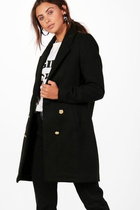 boohoo Petite Double Breasted Military Duster Coat
