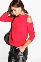Boohoo Layla Cold Shoulder Sweatshirt