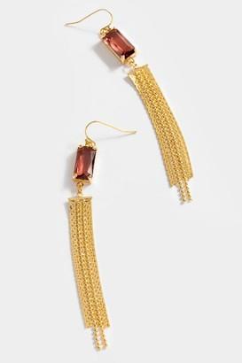 francesca's Eli Glass Stone Chain Chandelier Earrings - Burgundy