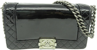 Chanel Black Quilted Patent Leather Small Reverso Boy Bag