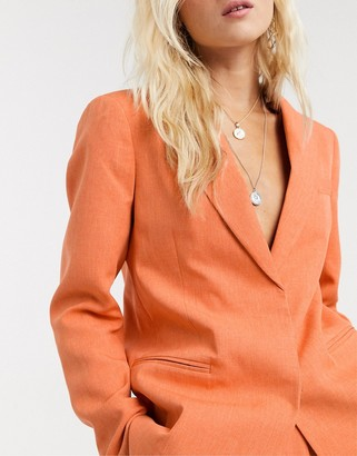 Topshop blazer two-piece in apricot