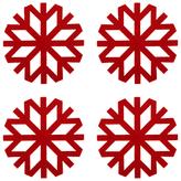 John Lewis Snowflake Coasters, Red, Set of 4