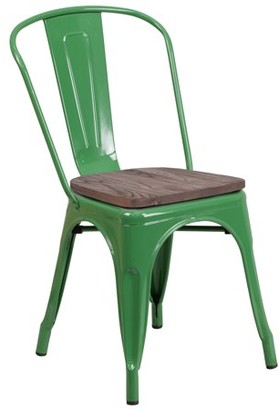 Flash Furniture Green Metal Stackable Chair with Wood Seat