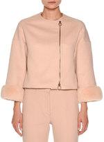 Agnona Mink-Cuff Asymmetric-Zip Short Jacket, Nude White